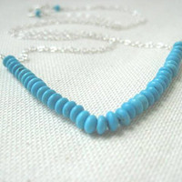 Turquoise Chevron Necklace Sterling Silver by JulieEllynDesigns