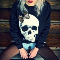 Black Sweater - Skull Leopard Print Bow Jumper | UsTrendy