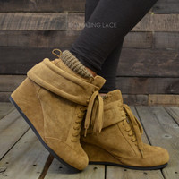 Sky High Camel Hidden Wedge Sneaker