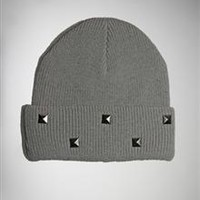 Grey Studded Cuff Knit Beanie