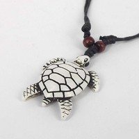 Ethnic Tribal, Cool SEA Turtle Totem Pendant Necklace. Collar Surfer Ajustable De Tortuga Marina