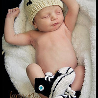 Punk Rock Skull hat for newborn babies hand by FuzzyFunkDesigns