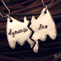 Hand Stamped Hand Sawed Batman Inspired Dynamic Duo Best Friends Necklace Set