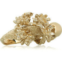 Alexander McQueen | Brass skull and cherry blossom ring | NET-A-PORTER.COM