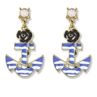 Anchor and Rose Earrings