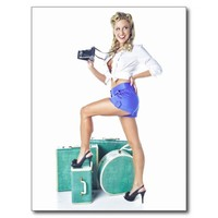 Vintage Retro Pin-Up Calendar Girl Pinup Camera