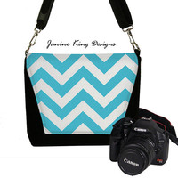 Camera Bag Dslr Camera Bag Slr Water Resistant Women's Padded Camera Bag Pockets Water Repellent Chevron Turquoise Blue (RTS)