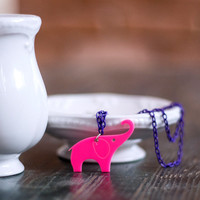 ON SALE Hot Pink Elephant Necklace,Plexiglass Jewelry,Elephant Jewelry,Gifts Under 25