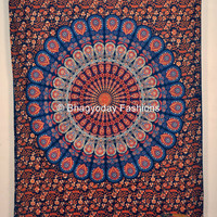 Blue Indian Mandala Tapestry ,Indian Wall Hanging ,Hippie Indian Tapestry,Bohemian Wall Hanging,Queen Bedspread throw Decor Art