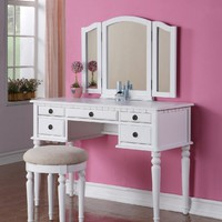 Poundex Bobkona St. Croix Vanity Set with Stool White Color