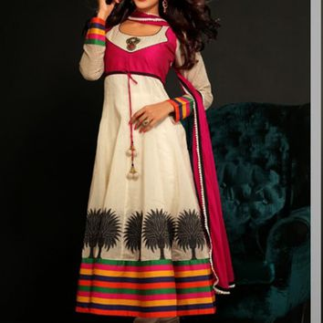 Stylish Look Cream Chanderi Cotton Silk Based Anarkali Suit - Salwar Kameez - Women