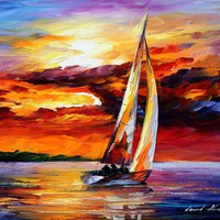 LONG SAIL — PALETTE KNIFE Oil Painting On Canvas By Leonid Afremov - Size 16x20. 10% discount coupon as well - deviantart10off