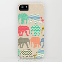 linen baby elephants and flamingos iPhone & iPod Case by Sharon Turner | Society6