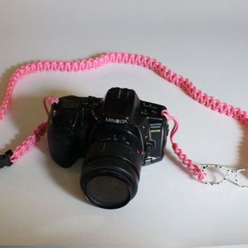Pink Paracord Camera Strap with Sunglasses Ladies Photography Accessory