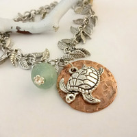 Sea Turtle and Sea Glass Charm Bracelet, Beach Lover, Ocean Jewelry
