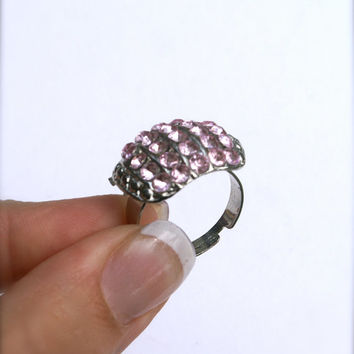 Adjustable Pink Ring Vintage Rhinestone Costume Ring Silver Tone