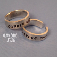 Zombie Apocalypse Buddies Hand Stamped Aluminum Ring Set- Set of 2