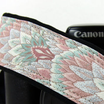 Pastel dSLR Camera Strap, Dusty Rose, Pink, Teal, Grey, Leaves,SLR