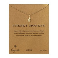 cheeky monkey, monkey necklace, gold dipped