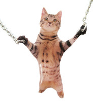 Adorable Brown Striped Tabby Kitty Cat Standing Up Shaped Pendant Necklace | Handmade | Animals in Awkward Poses - Brown Kitty Cat Shaped Pendant Necklace