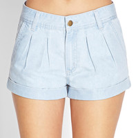 Pleated Cuffed Denim Shorts