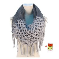 Fashion Women Winter Warm Knit Long Scarf Tassels Soft Shawl Two styles Infinity & straight 7 Colors (Gray), US Shipping