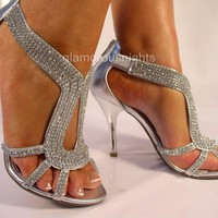 "SILVER DIAMANTE ENCRUSTED 3.75"" HEEL EVENING SANDAL,PARTIES, WEDDINGS, PROMS. 