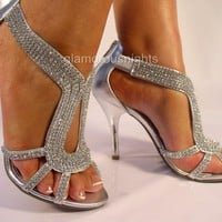 SILVER DIAMANTE ENCRUSTED 3.75&quot; HEEL EVENING SANDAL,PARTIES, WEDDINGS, PROMS. | eBay