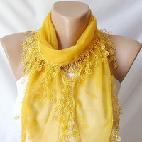 Yellow Saffron English mustard Cotton Scarf with Lace by Periay