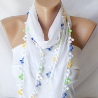 White Cotton Scarf bandana headband with Small colorful by Periay