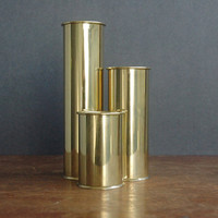 Staffan Englesson Brass Candle Holder Set - Swedish Brass Cylinder Candle Holder Trio
