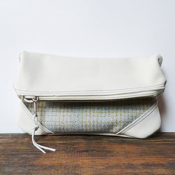 Fold over clutch ivory Leather clutch purse bag wallet wool fabric ott-white blue