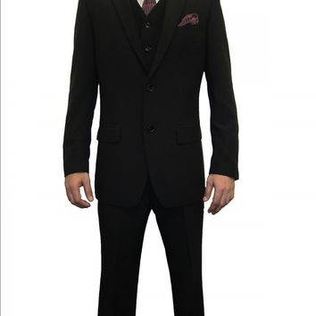 Mens Lycra Black Three Piece Regular fit Suit (Nathan)