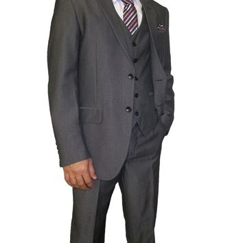 Mens Grey Three Piece Short / Regular fit Suit (Frazer)