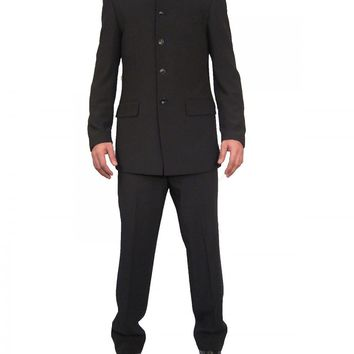 Mens Black Grandad Collar two Piece Suit ideal for weddings (Nehru)