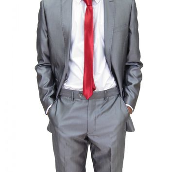 Mens Sliver Grey two Piece Slim fit Suit ideal for weddings (Kent)