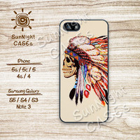 Indian Chief, Skull, Feather, iPhone 5 case, iPhone 5c Case, iPhone 5s case, Phone case, iPhone 4 Case, iPhone 4s Case, Phone Skin, 0145