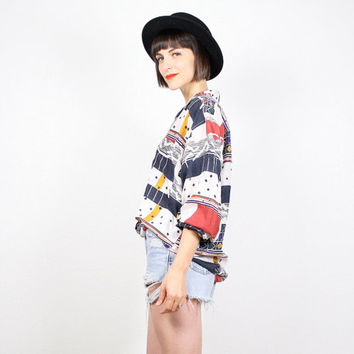 Vintage Oversized Blouse 1980s 80s New Wave Shirt Silk Blouse Geometric Print Abstract Print Top Primary Colors Shirt L Large XL Extra Large