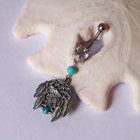 Belly Button Ring - Body Jewelry - Navel Piercing - Belly Ring - Native Dream Catcher Wolf With Magnesite - READY TO SHIP