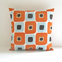 Designer Pillow Cover Orange Blue 18x18 Decorative Pillow Retro