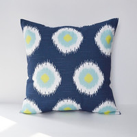 Pillow Cover Decorative Pillows Ikat Throw Pillows Navy Pillow 16x16 18x18 20x20 22x22