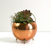Mid Century Copper and Brass Planter Pot by Coppercraft Guild