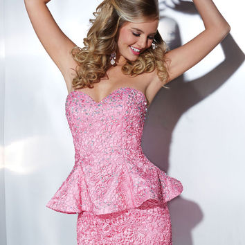 Hannah S. 27877 -Pink Sweetheart Peplum Homecoming Dresses Online