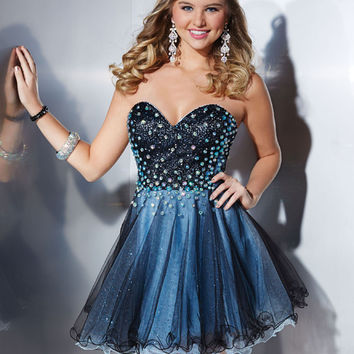 Hannah S. 27859 -Black/Sky Sparkle Tulle Homecoming Dresses Online