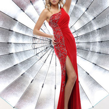 Sparkle 71343 - Scarlet Beaded One Shoulder Jersey Prom Dresses Online