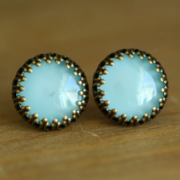 Teal Earrings Bronze Boho blue green Jewelry Colour post studs Glass Large 16mm
