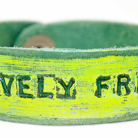 Hot yellow on green leather LOVELY FREE Petite by LeatherCoutureLV