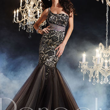 Panoply 44236 - Black/Nude Trumpet Lace Prom Dresses Online