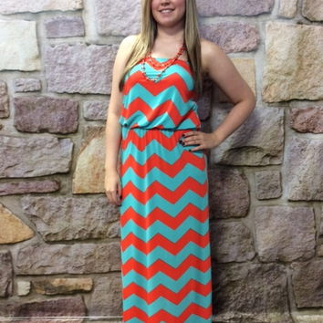 Coral & Mint Chevron Maxi Dress- DRE405CO