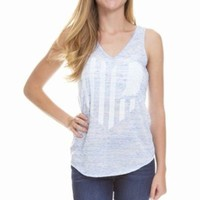 United State of Indiana V-Neck Tank- Light Blue Marble